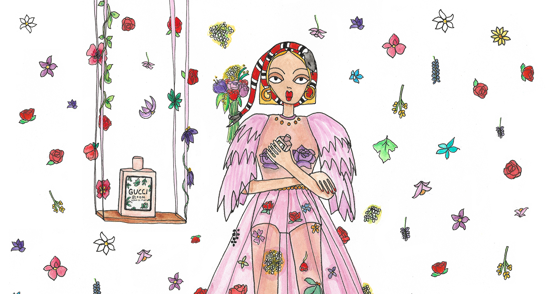 Gucci Blooms in Latest Female Instagram Illustration Campaign