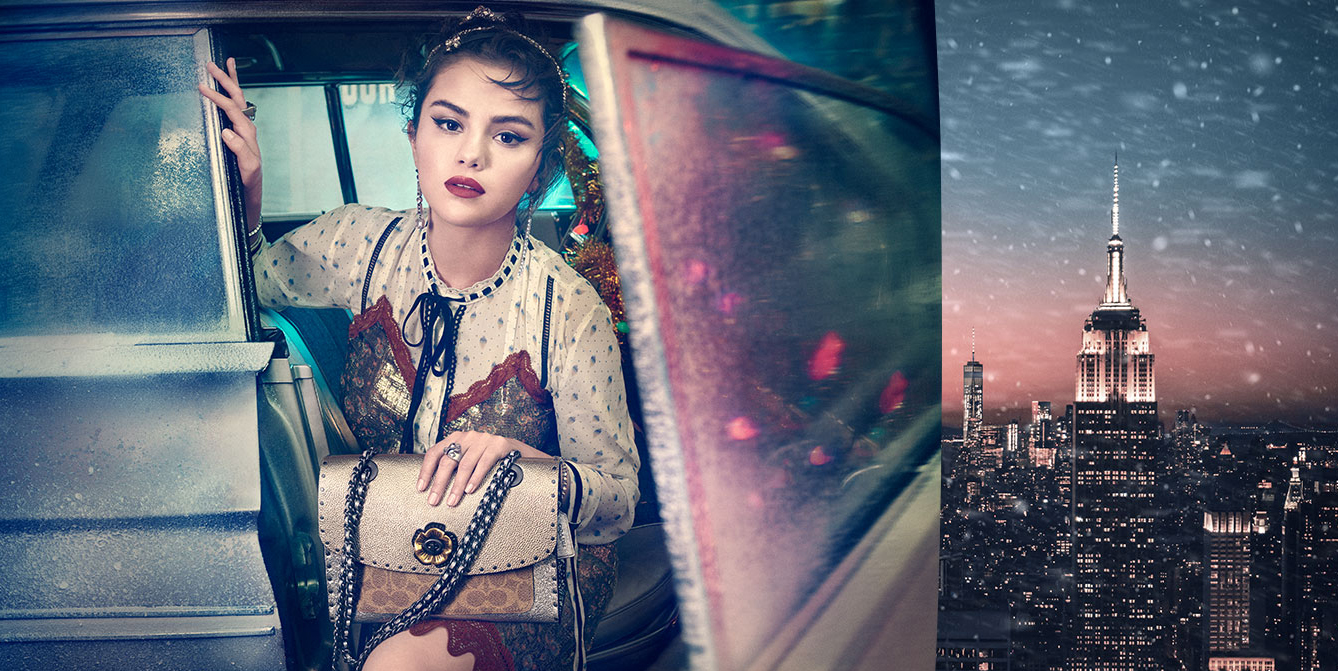 Coach Lights, Camera, Holiday 2018 ad campaign with Selena Gomez