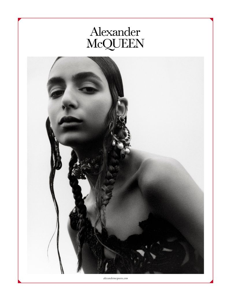 Karolin Wolter Wears Painted Brows for Alexander McQueen