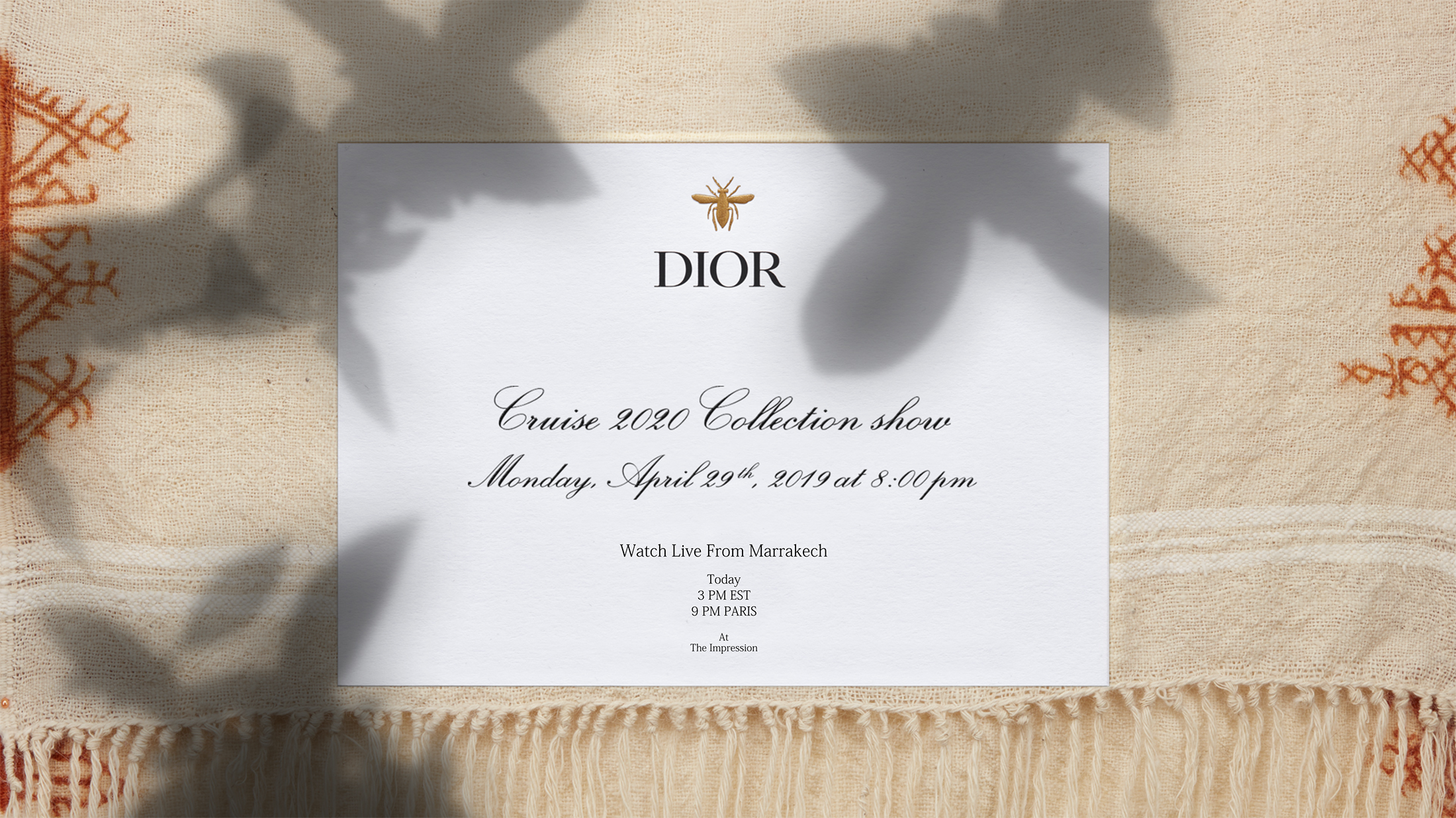 Watch Dior ​Cruise 2020 Runway Show Live from Marrakech
