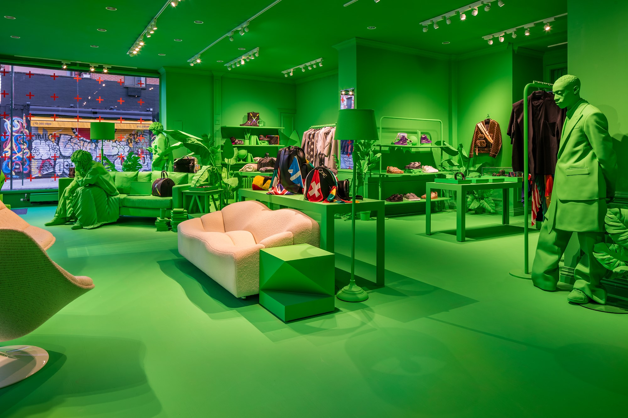 Louis Vuitton Launches Neon Green Men's Pop-up in NYC Lower East Side