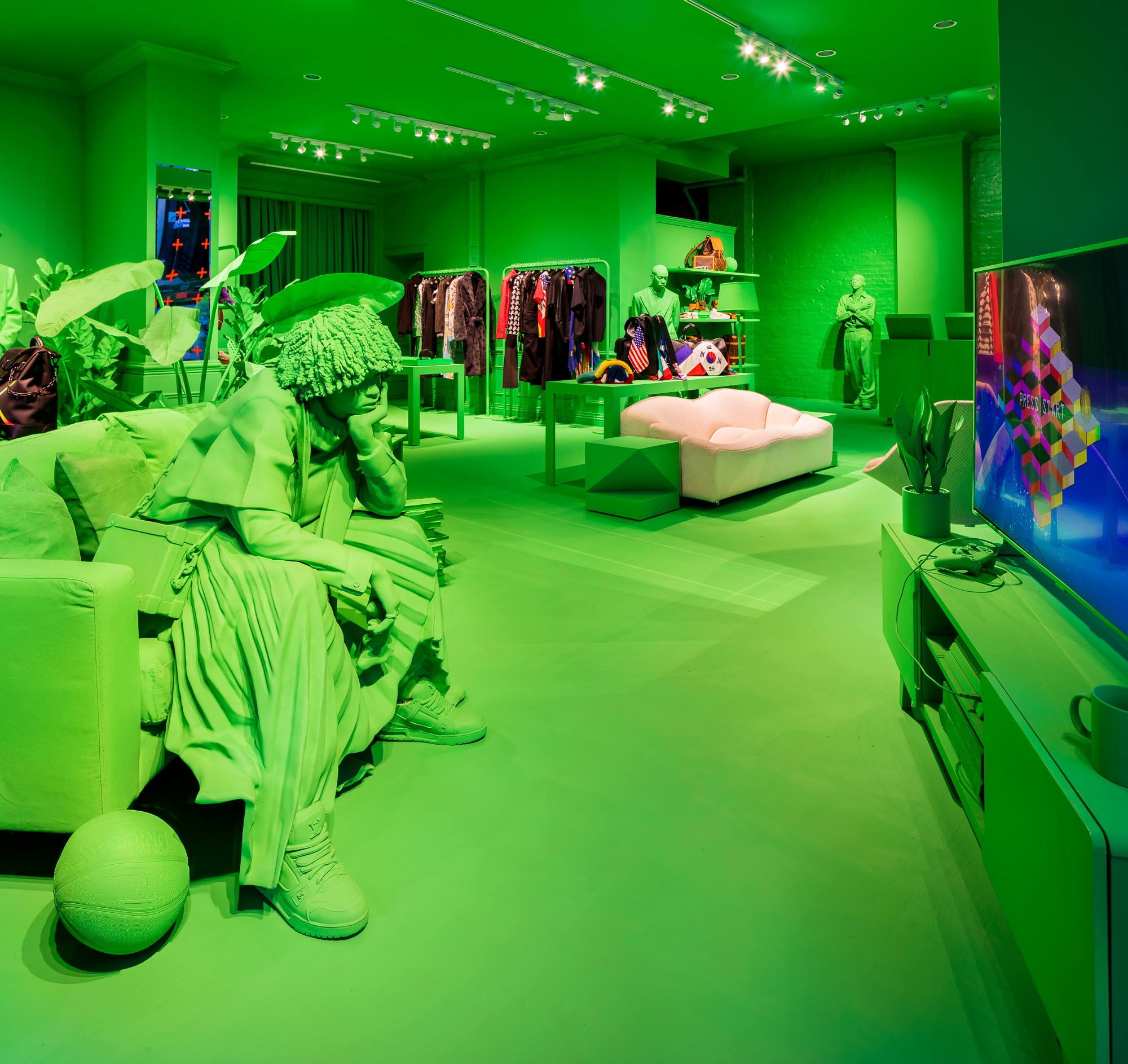East Orange Focus >> Louis Vuitton Launches Neon Green Men's Pop-up in NYC Lower East Side | The Impression