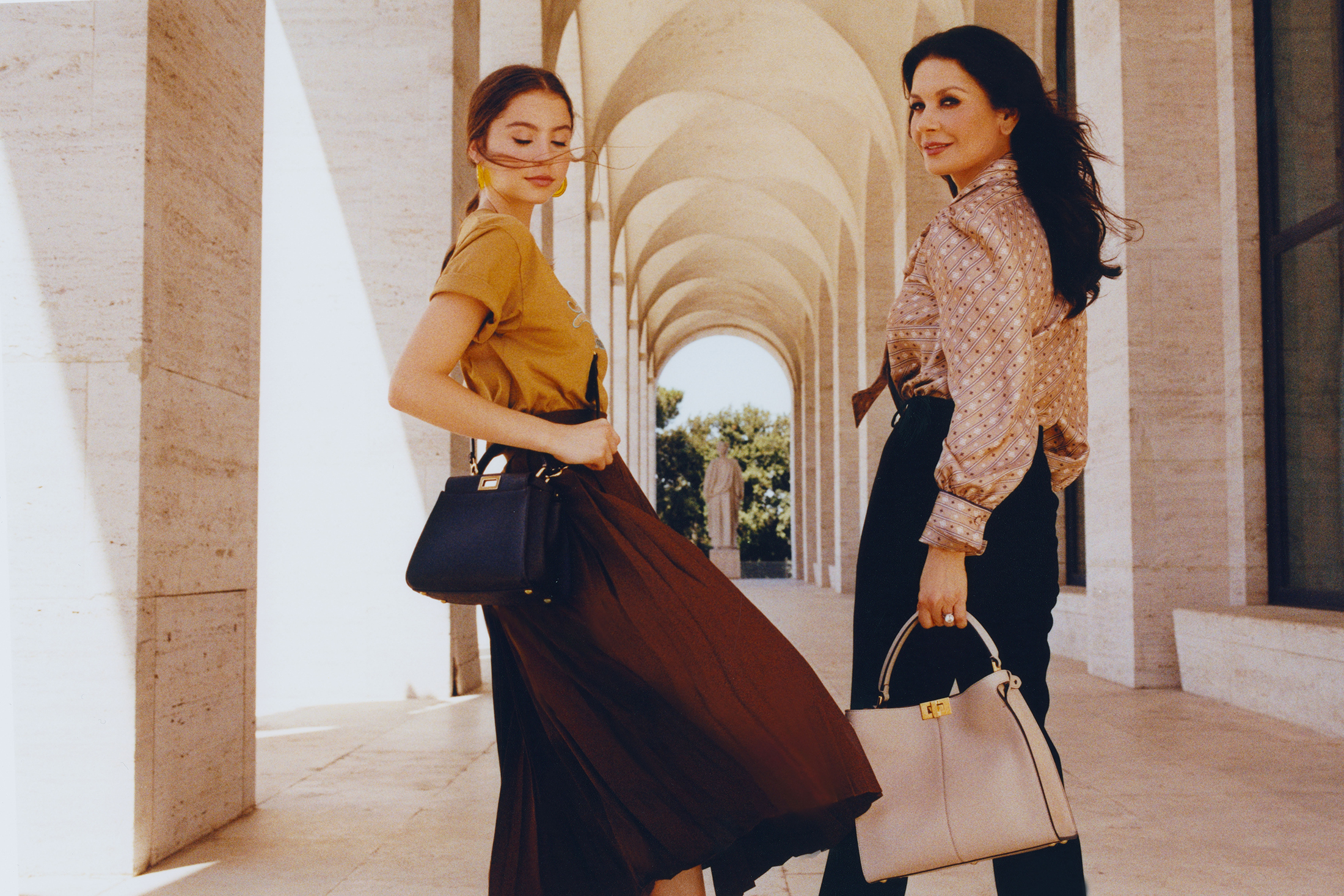 Fendi Peekaboo Bag Campaign With Catherine Zeta-Jones & Daughter Carys Douglas
