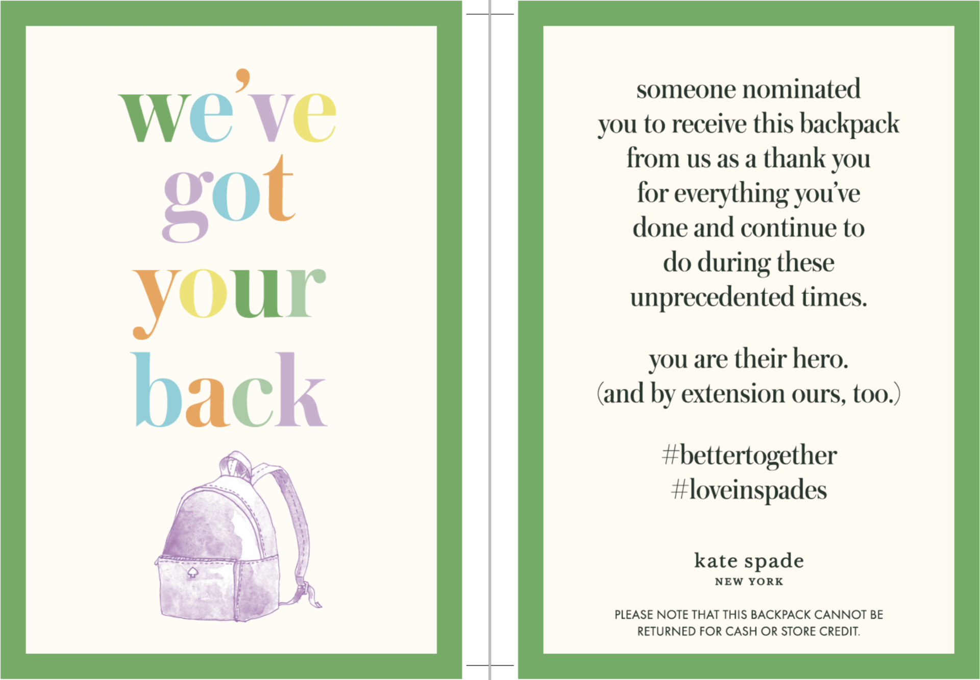 Kate Spade Gifts 5,000 Backpacks To Heroes On The Frontlines
