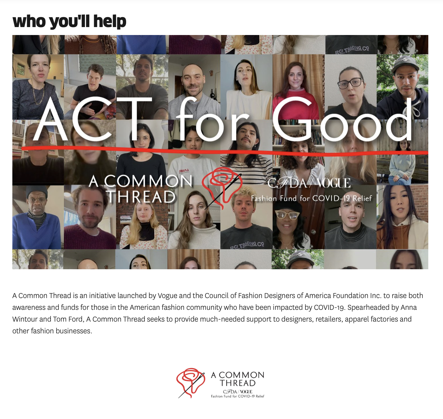 "A Common Thread And Omaze Launch ""Act For Good"""