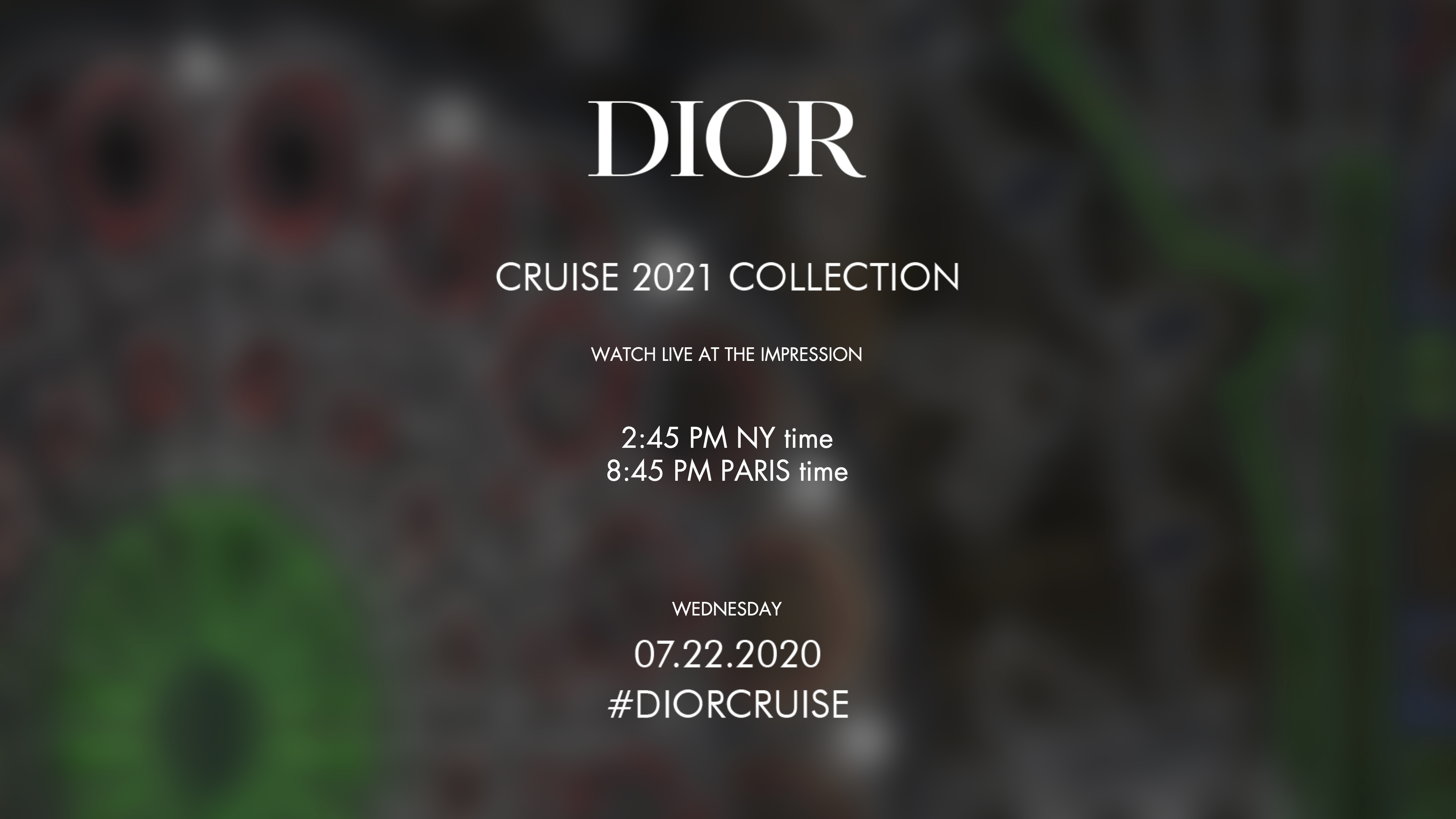 Watch Dior Cruise 2021 Show Live Video
