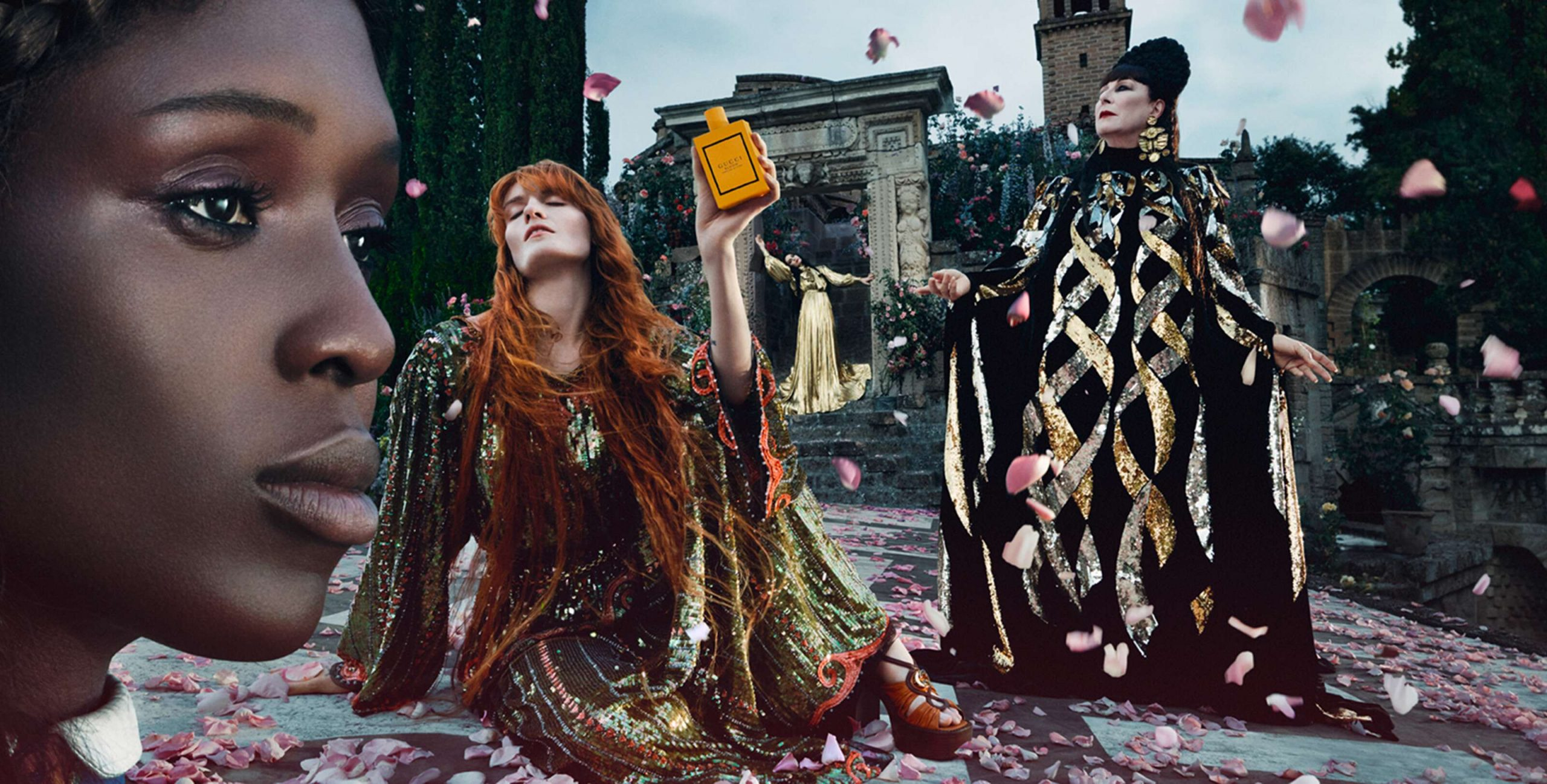 Gucci Bloom Fragrance Campaign with Anjelica Huston, Florence Welch, Jodie Turner-Smith & Susie Cave Film & Photos