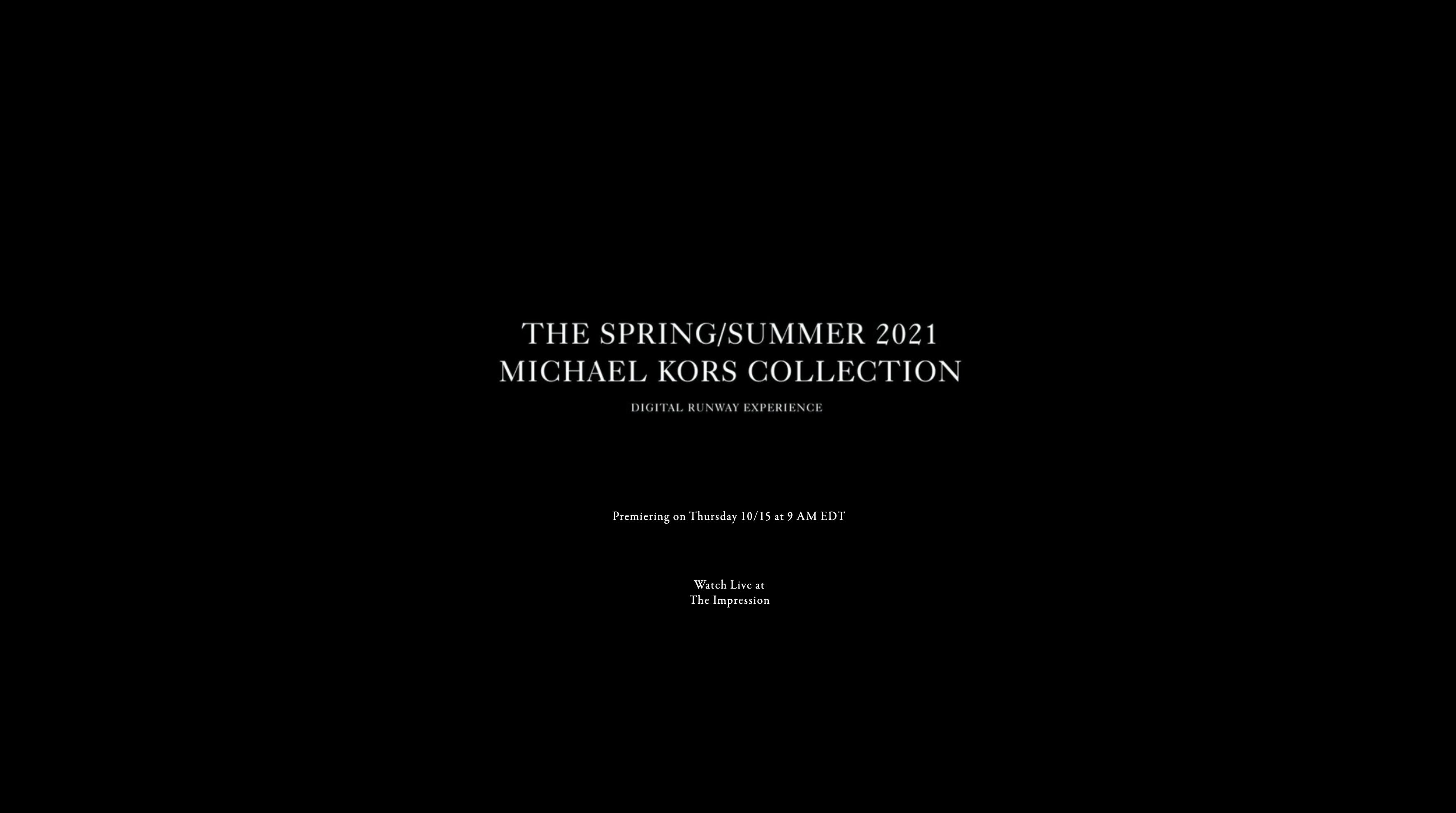 Watch Michael Kors Spring 2021 Fashion Show Live