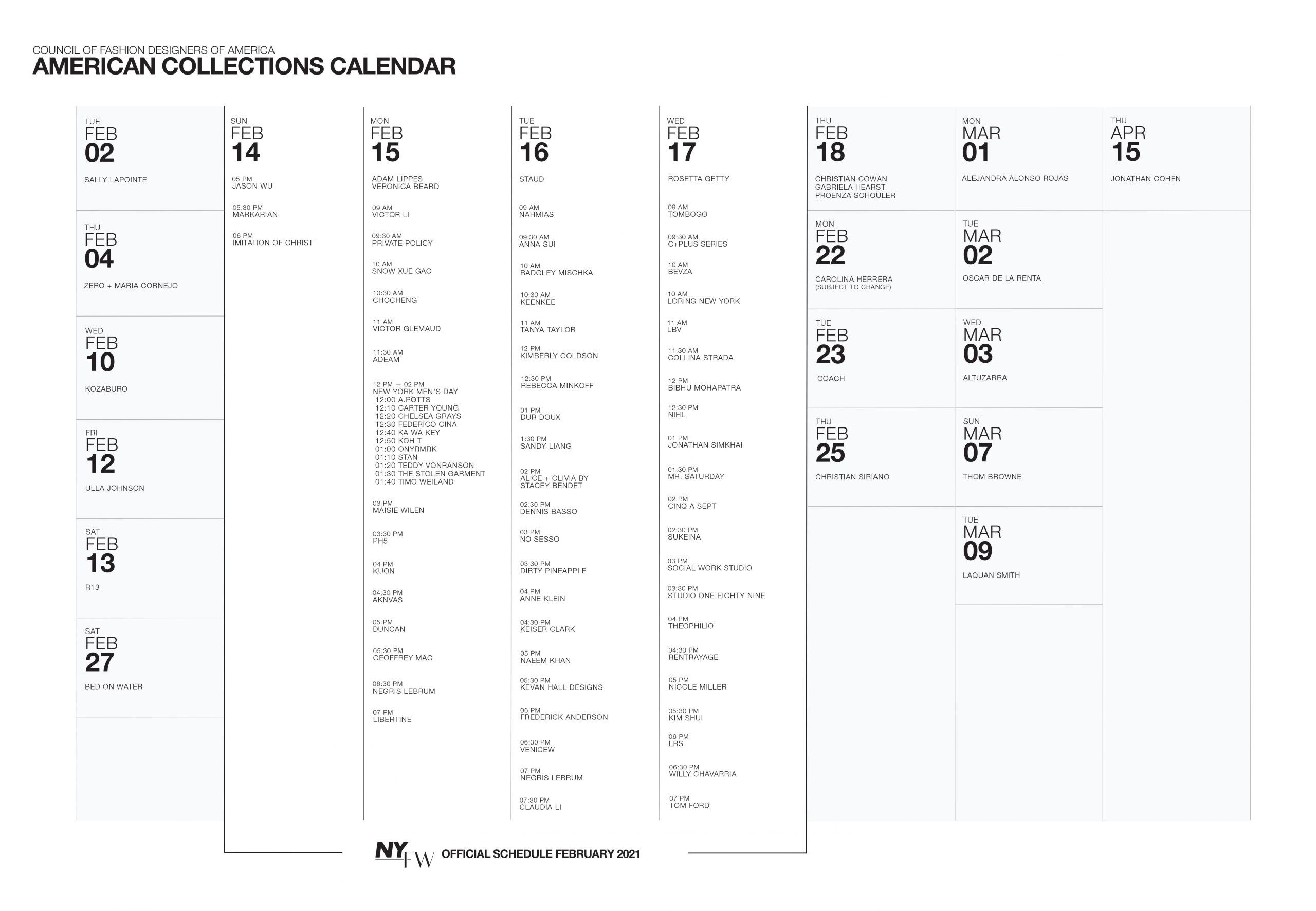 CFDA Unveils American Fashion Week Calendar